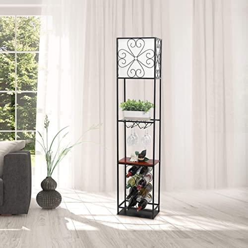 Elegant Designs LF1021-BLK Etagere Organizer Wine Rack Floor Lamp