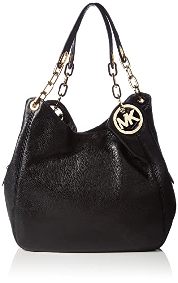 5c28cc3b7451 Michael Kors Women's Fulton Large Leather Shoulder Bag, Black, OS ...