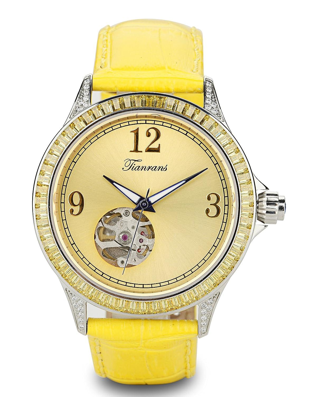 tianrans Damen Kristall akzentuierten LÜnette gelb Sonnenstrahl Skelett Zifferblatt Leder Band automatische Armbanduhr