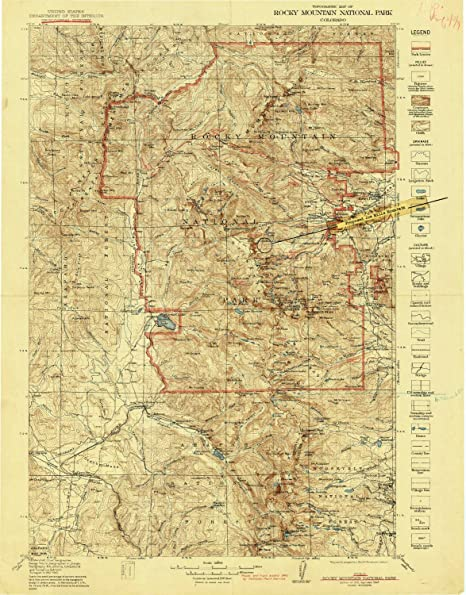 Topographic Map Rocky Mountains.Amazon Com Yellowmaps Rocky Mountain National Park Co Topo Map 1