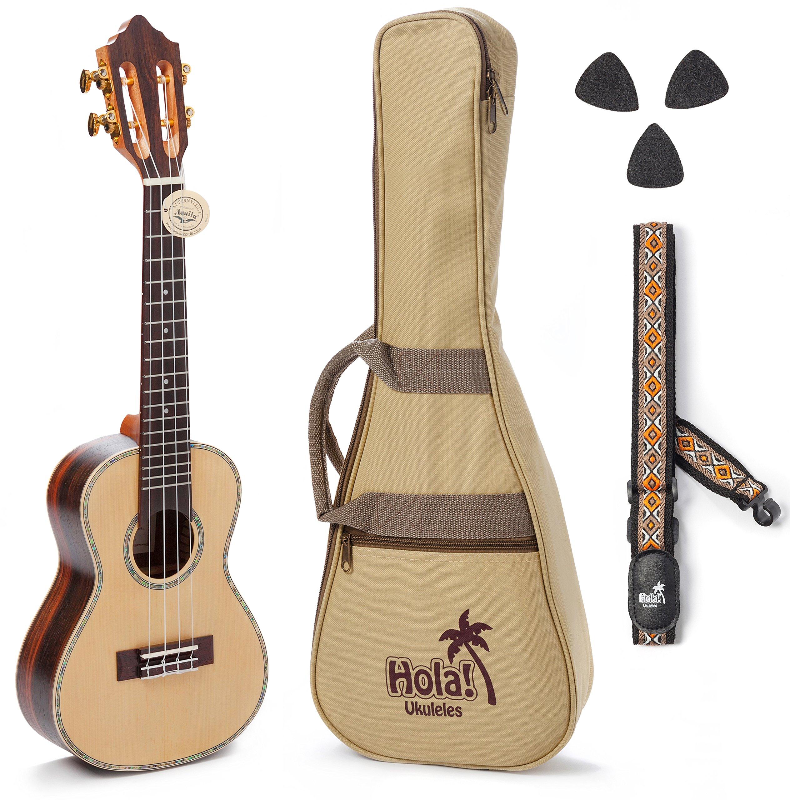 Concert Ukulele Professional Series by Hola! Music (Model HM-424SSR+), Bundle Includes: 24 Inch SOLID Spruce Top Ukulele with Aquila Nylgut Strings Installed, Padded Gig Bag, Strap and Picks