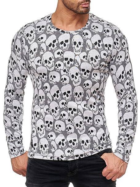 Redbridge Men/'s Knitted Jumper Long Sleeve T-Shirt Long Sleeve Skull M2109