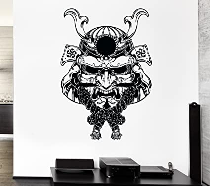 Amazon.com: Wall Stickers Vinyl Decal Samurai Warrior Mask Japan ...