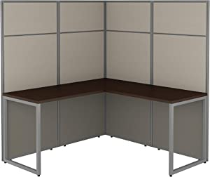 Bush Business Furniture Easy Office L Shaped Cubicle Desk Workstation with 66H Panels, 60Wx60H, Mocha Cherry