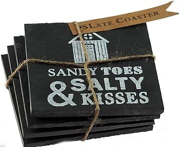 4 posavasos de pizarra negra, diseño de casetas de playa en el mar, con cita en inglés «Sandy Toes Salty Kisses»: Amazon.es: Hogar