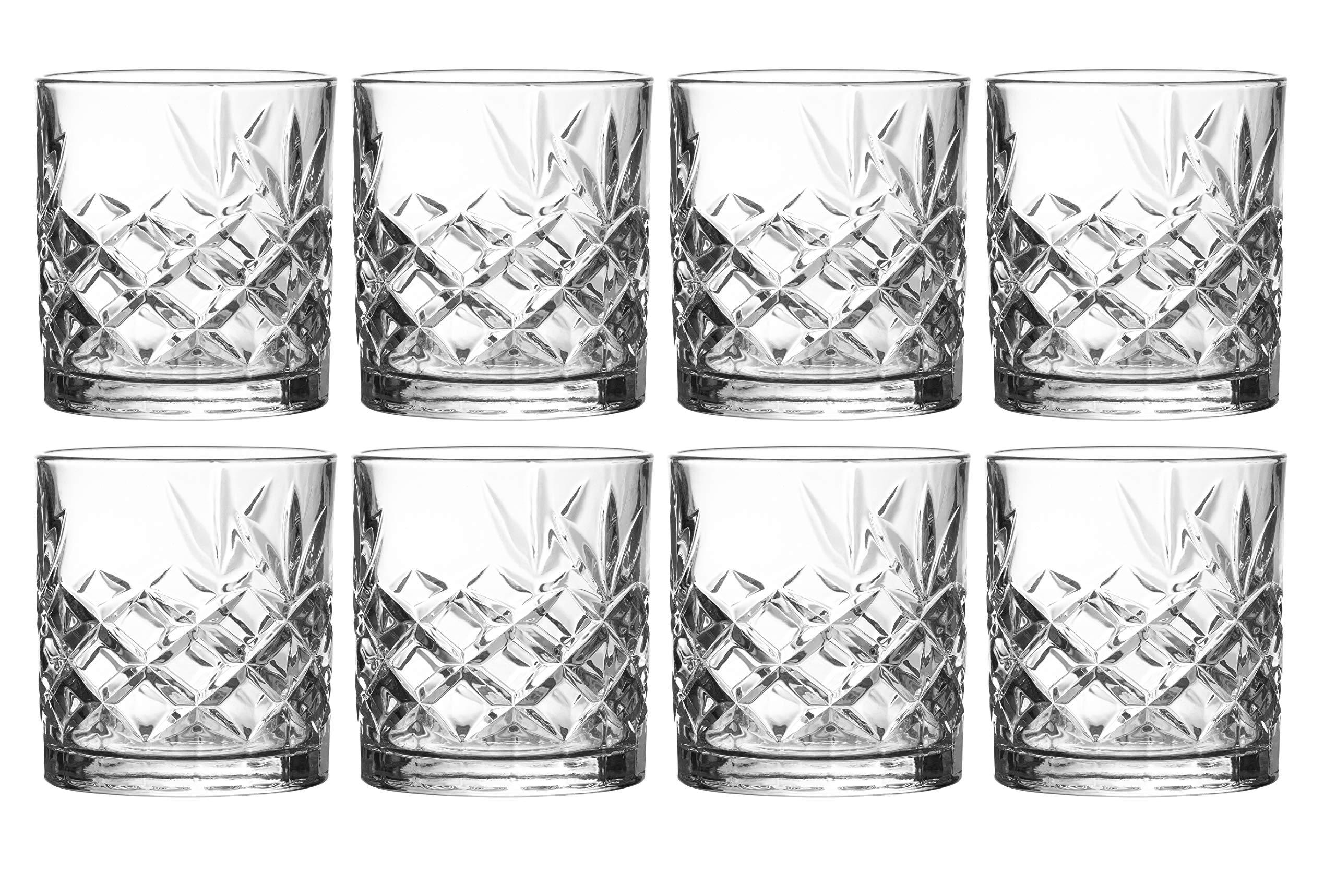 Clovelly Lowball Whiskey Glasses, 8 Pc. Set, 10.6 ounce Short Drinking Glassware for Liquor, Bourbon, Rye, or Beer…