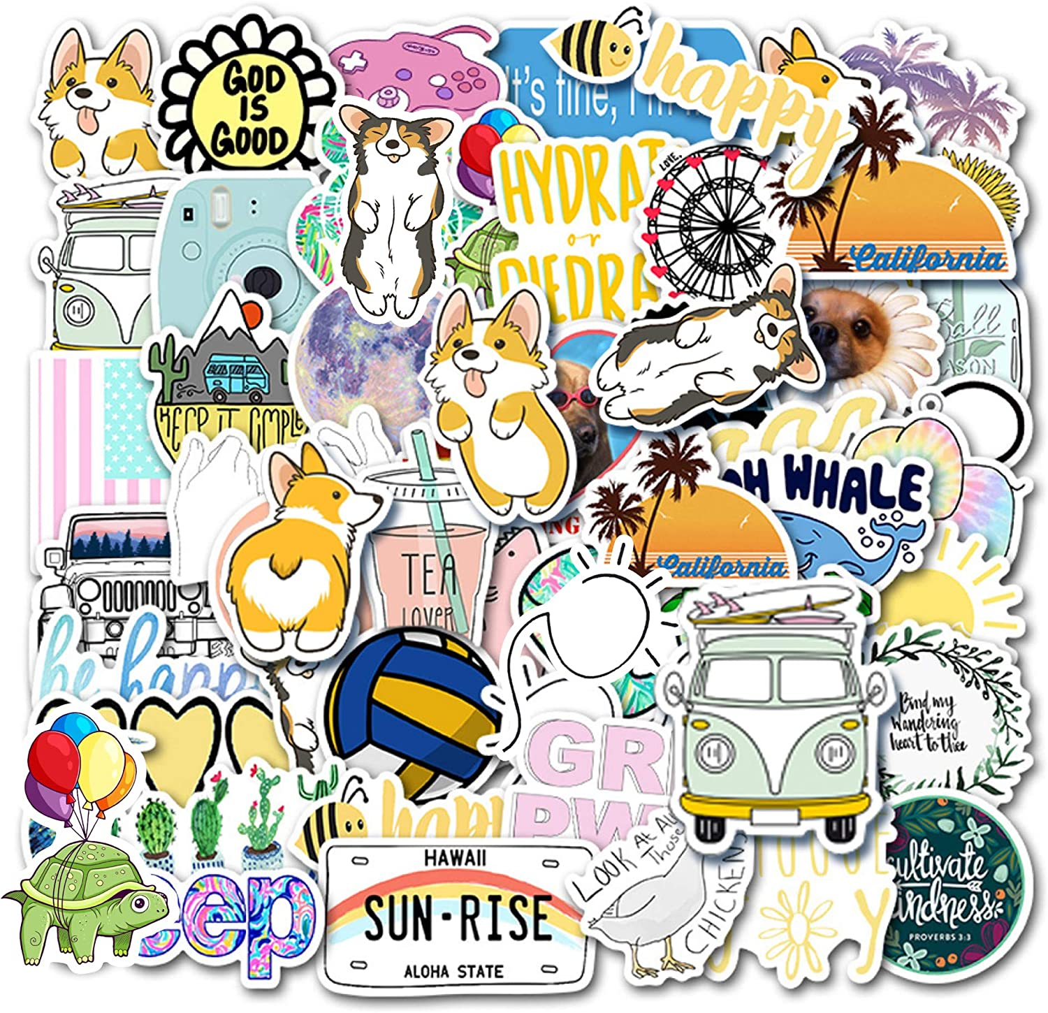50 Pack Vsco Cute Stickers,Stickers for Water Bottles and Laptop Perfect for Hydro Flask iPhone MacBook Teens Girls Party Supplie Patches Decal