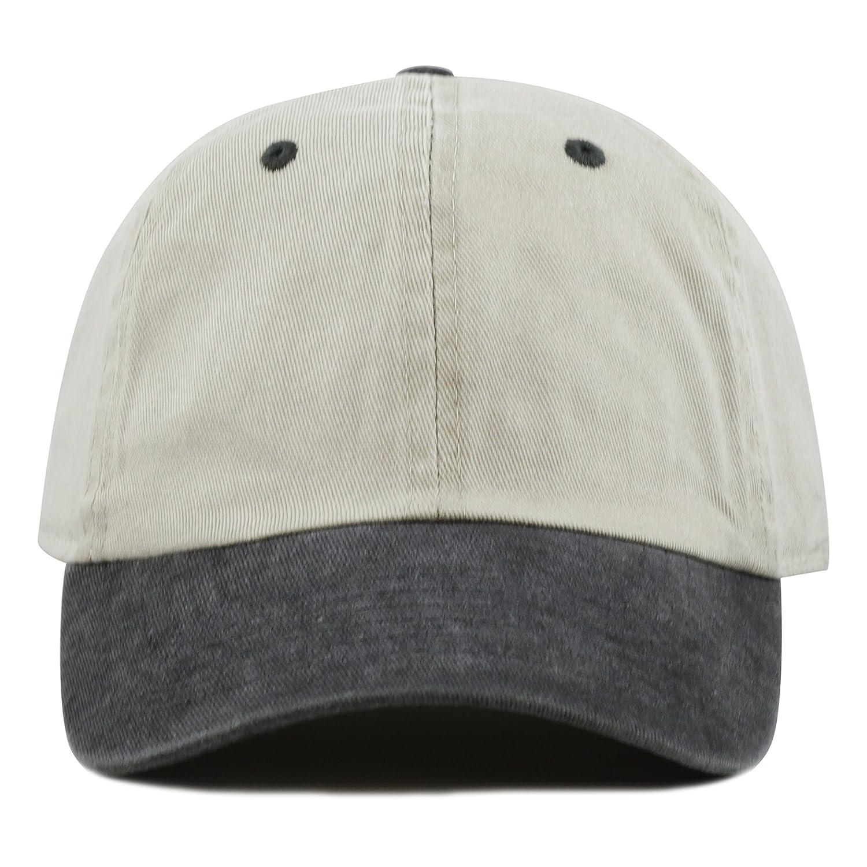 f75326a7d41f5 THE HAT DEPOT Cotton Pigment Dyed Low Profile Six Panel Cap (Beige Black)  at Amazon Men s Clothing store