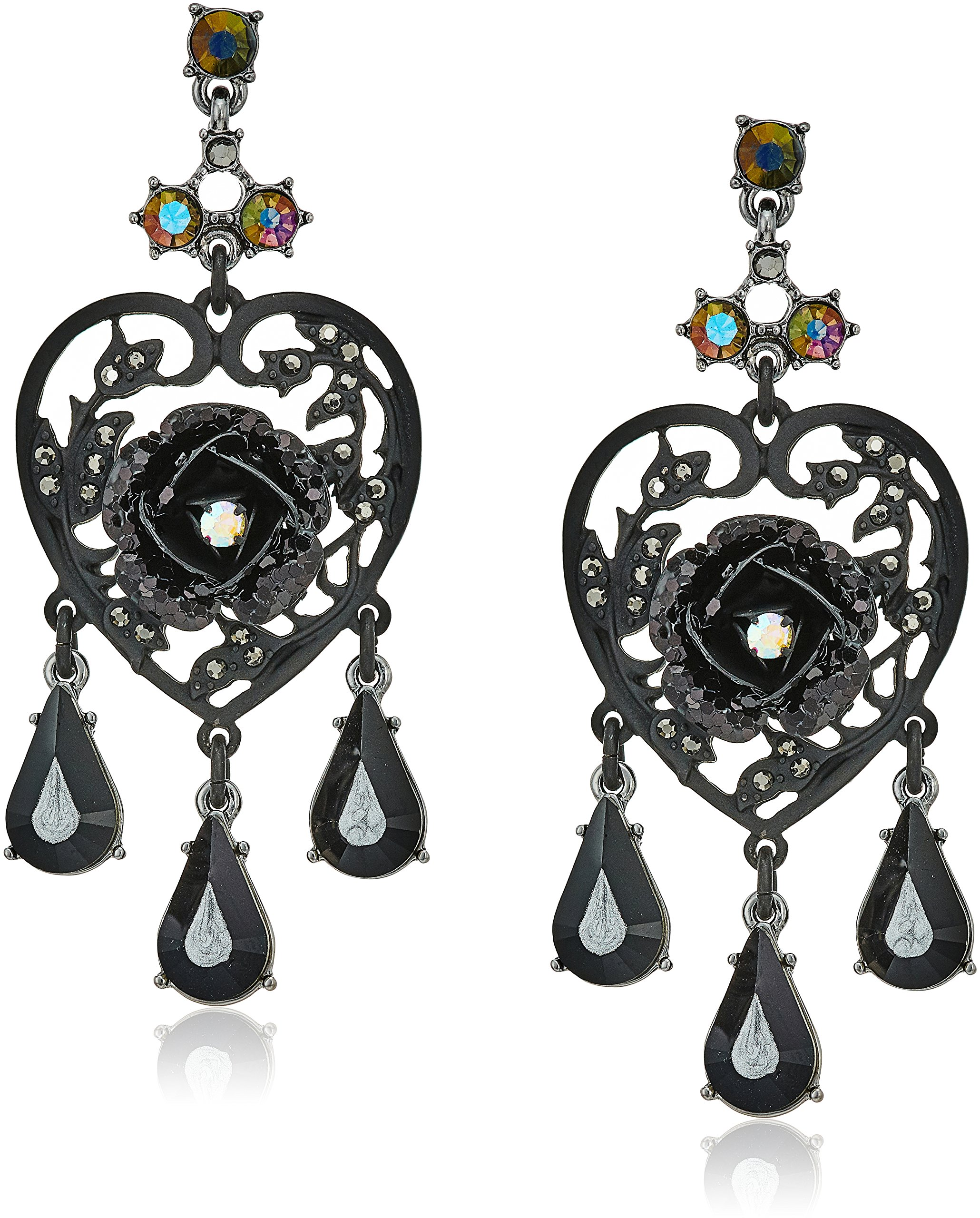 Betsey Johnson Roses Hematite and Black Stone Chandelier Drop Earrings