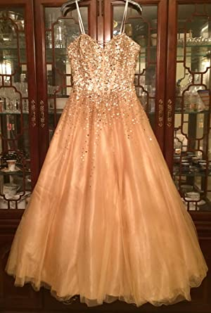 Gold Beaded Corset Tulle Ballgown Prom Dress From Camille La Vie