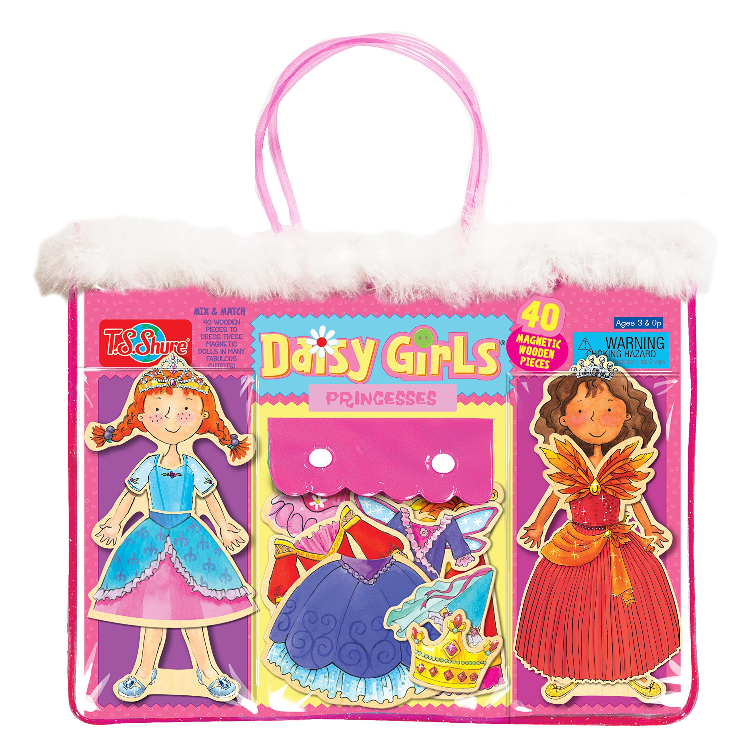 T.S. Shure Daisy Girls Princesses Wooden Magnetic Dress-Up Dolls Wooden Magnetic Dolls