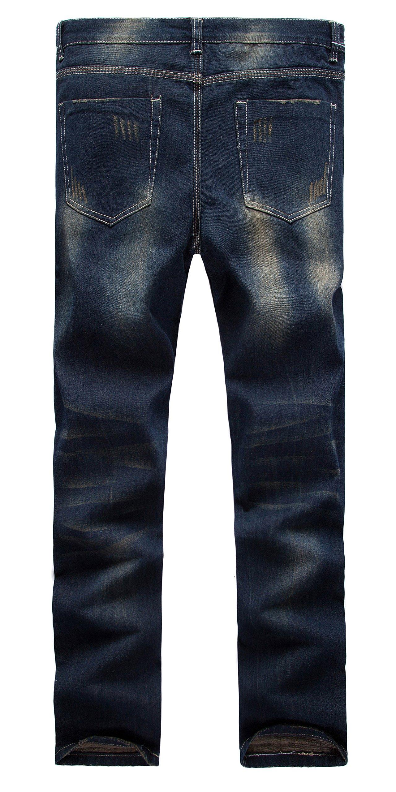 FEESON Men's Straight Leg Slimming Fit Distressed Loose Denim Jeans Dark Blue W30 by FEESON (Image #2)