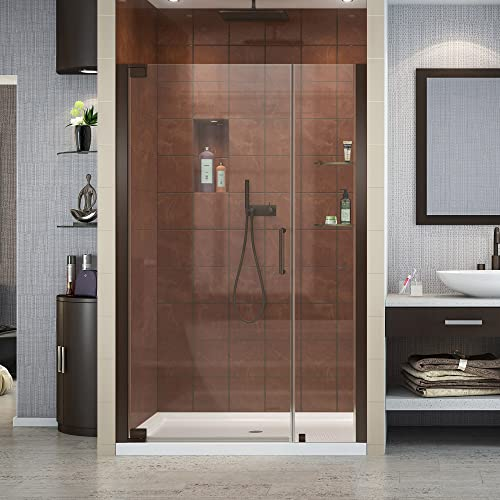 DreamLine Elegance 44 1 4 – 46 1 4 in. W x 72 in. H Frameless Pivot Shower Door in Oil Rubbed Bronze, SHDR-4144720-06
