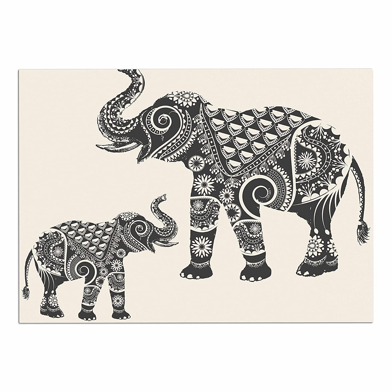KESS InHouse FM1042ADM02 Famenxt Ornate Indian Elephant-Boho Black Beige Dog Place Mat, 24  x 15