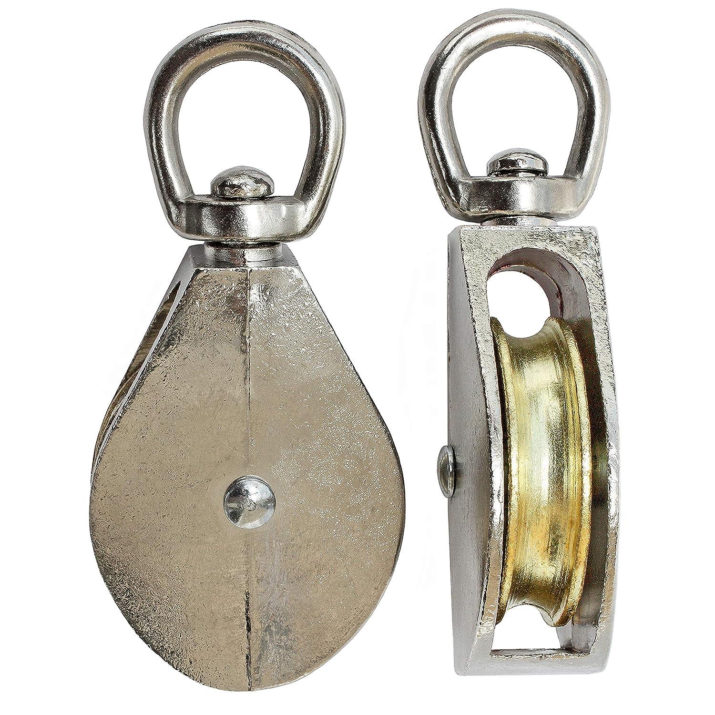 """Seilrolle Blockseilrolle mit Wirbel Metallrolle 2/"""" Blockrolle Vernickelt"""