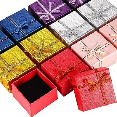 12 Piezas de Caja de Regalo de Anillo de Cartón Caja de Joyería Caja de Embalaje para Collar Pendientes Regalo, Colores al Azar (Caja de Anillo Cuadrada): Amazon.es: Joyería