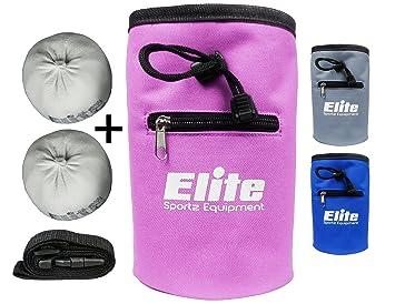 Elite Sportz Equipment Juego de Bolas de Tiza con 2 Bolas de Tiza de Carbonato de Magnesio 100% Natural y Bolsa de Tiza para Escalada, Gimnasia, ...