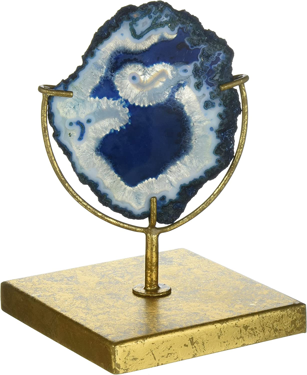Creative Co-Op Decorative Agate Stone Slice on Metal Stand, Blue