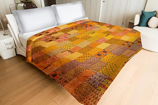 Yellow Color Handmade Silk Patchwork Kantha Quilt Bedspread Bedding Bed Cover Coverlet Double Bed Cover/Quilt Gudri (220 cm x 270 cm) by Handicraft-Palace