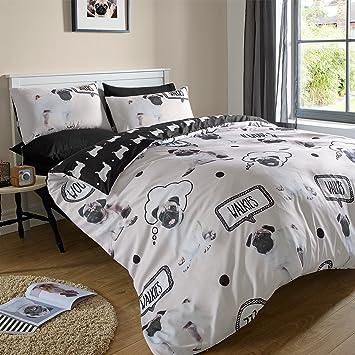 Dreamscene - Juego de cama de funda de edredón con funda de almohada Pug perro walkies - King: Amazon.es: Hogar