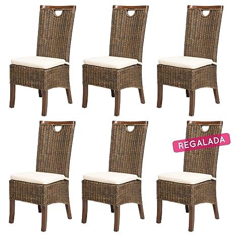 REBAJAS : -66% Lote de 6 sillas para comedor moka modernas y baratas RACINE