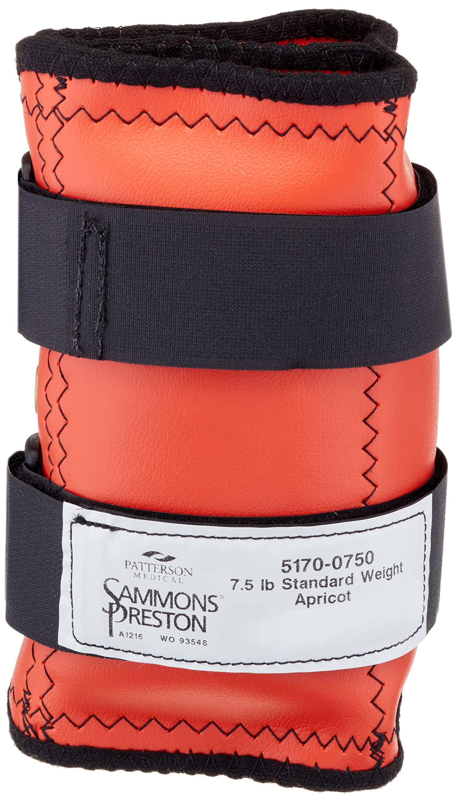 Sammons Preston Cuff Weight, 7.5 lb, Orange, 2 Velcro Straps & D-Ring Closure, Grommet for Easy Hanging, Steel Ankle & Wrist Weights are Lead Free, Exercise Tool for Strength Building & Injury Rehab by Sammons Preston (Image #1)