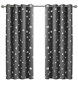 Anjee 2 Panels Silver Star Curtains for Kids Room, Thermal Insulated Blackout Curtains Perfect for Space Themed Room Décor (Light Blocking and Noise Reducing), W52 x L63 Inches, Space Grey