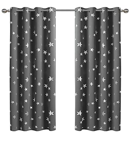 Anjee Silver Star Curtains For Kids Room (2 Panels With 2), Thermal  Insulated