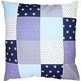 BEBILINO ® Baby Bettdeckenbezug 80x80 Blau Hellblau Grau (100% Baumwolle, ÖkoTex Standard 100-zertifiziert, auch für Stubenwagen-, Kinderwagendecke oder Dekokissen geeignet, Motiv: Sterne, Patchwork)