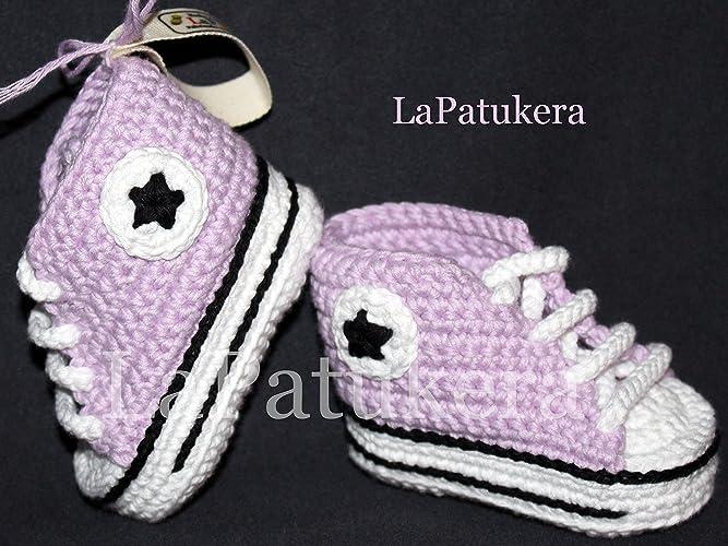 Babyschuhe Häkeln Unisex Stil Converse All Star Farbe Lila Aus