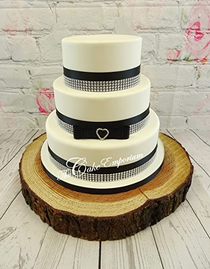 Wedding Cake Topper Love Heart Rhinestone Buckle Satin Navy Blue