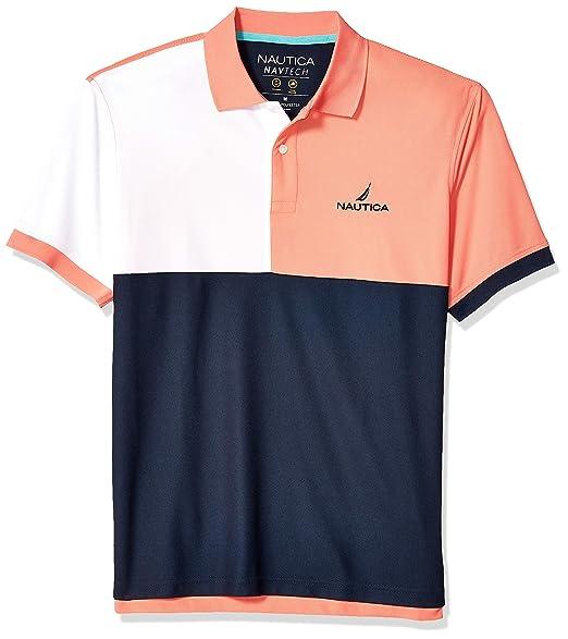9179431bd1 Nautica Men's Short Sleeve Tri-Color Performance Polo Shirt