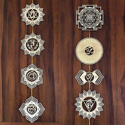 ZenVizion 5.31″ 7 Chakras Wall Decor and Sri Yantra Mandala Sacred Geometry Wall Art Set 8pcs Yoga Decor