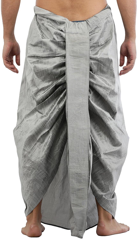 Maenner-Dhoti-Dupion-Silk-Plain-handgefertigt-fuer-Pooja-Casual-Hochzeit-Wear Indexbild 17