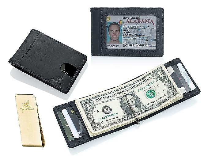 50d6ca7f13dbcd Slim Genuine Leather Money Clip Wallet for Men - Front Pocket RFID Blocking  (Crazy Horse