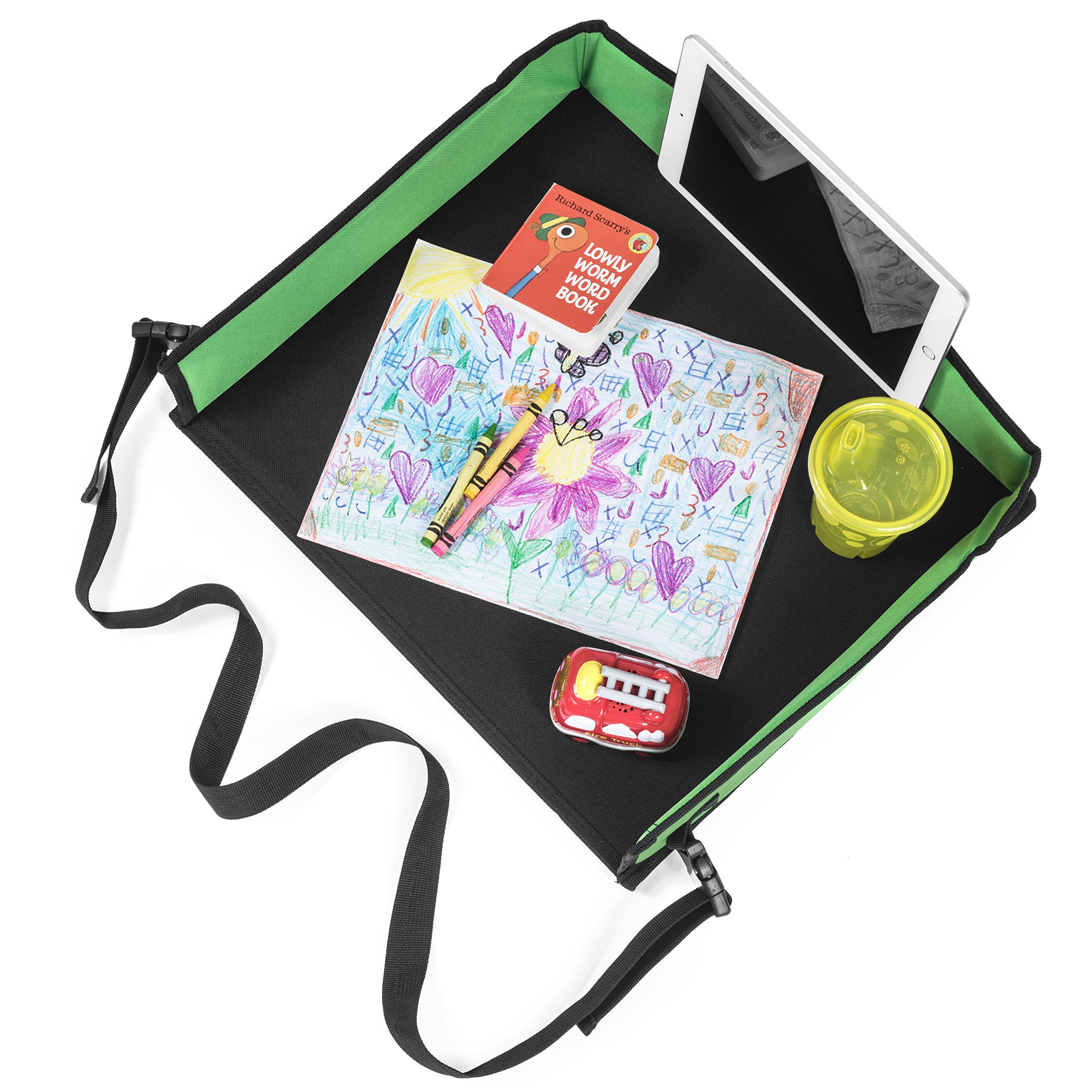 Batalee Kids Travel Tray for Car Toddlers Snack Play Activity Tray Portable Lap Tray with Mesh Pockets for Cars Seat, Strollers, Planes - Quality Material Tall Side Walls - Perfect Car Organizer by Batalee (Image #4)
