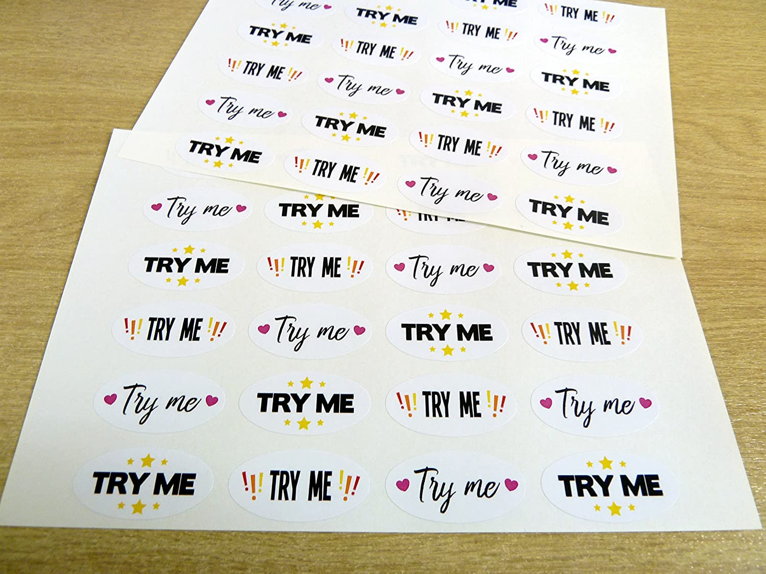 'Try Me' Oval Shaped Stickers, Colourful Promotional Retail Labels for Craft Products, Samples Stalls and Shops Minilabel