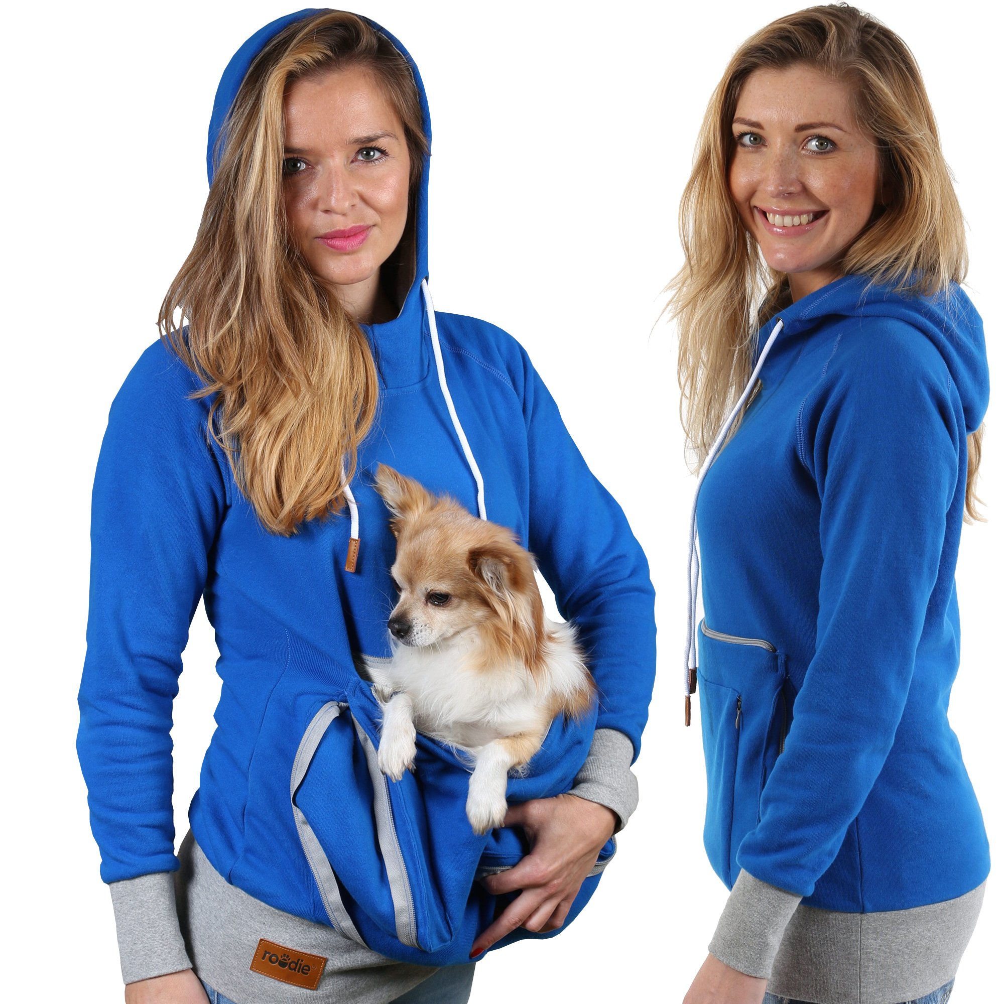Roodie Pet Pouch Hoodie - Small Cat Dog Carrier Holder Sweatshirt - Womens Fit Kangaroo Pullover Without Ears and Paws - Blue with Gray Trim - Small