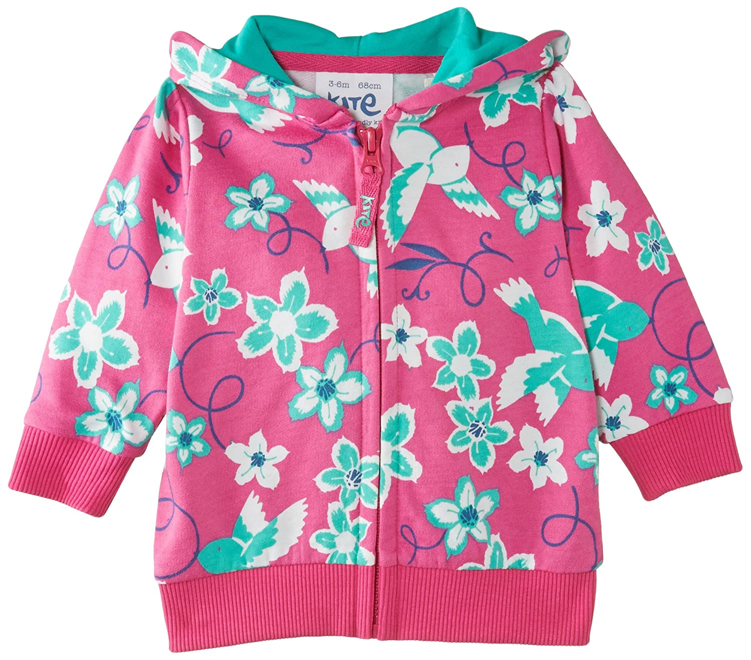 Kite Baby-Girls Floral Bird Zip Through Floral Hoodie BG195