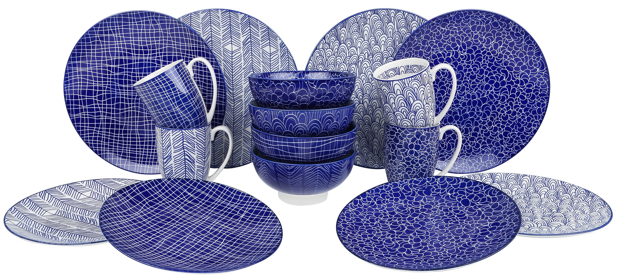 VANCASSO Porcelain Ceramic Dinnerware Set for 4 person, Blue Pattern Serving Set of Series Takaki with Cup Bowl Plates Platters for Family Dinner, Party, Feast, 16-Pieces, Blue - SAFE MATERIAL IN HIGH QUALITY - FDA certified fine porcelain with non-lead and non-cadmium, will not be any chemical reaction with the food, ensure your healthy diet. HIGH TEMPERATURE RESISTANCE - Vancasso dinnerware is made of Refined ceramic clay calcined in high temperature. The long-lasting material blocks moisture absorption and prevents cracking. Goes safe in Freezer, Dishwasher and Microwave. UNIQUE AND TREND DESIGN - Blue glazed with four different patterns, features exquisite appearance and fine workmanship, and full of decorative. - kitchen-tabletop, kitchen-dining-room, dinnerware-sets - 91RX5uUsD6L -