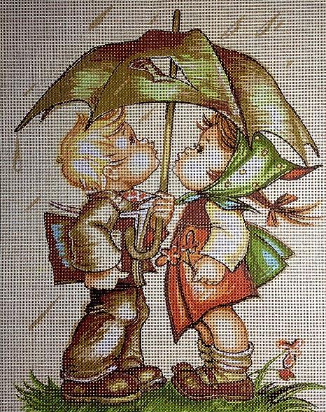 zwei Mädchen Kreuzstich Stickpackung Stickbild Stickvorlage vorgedruckt