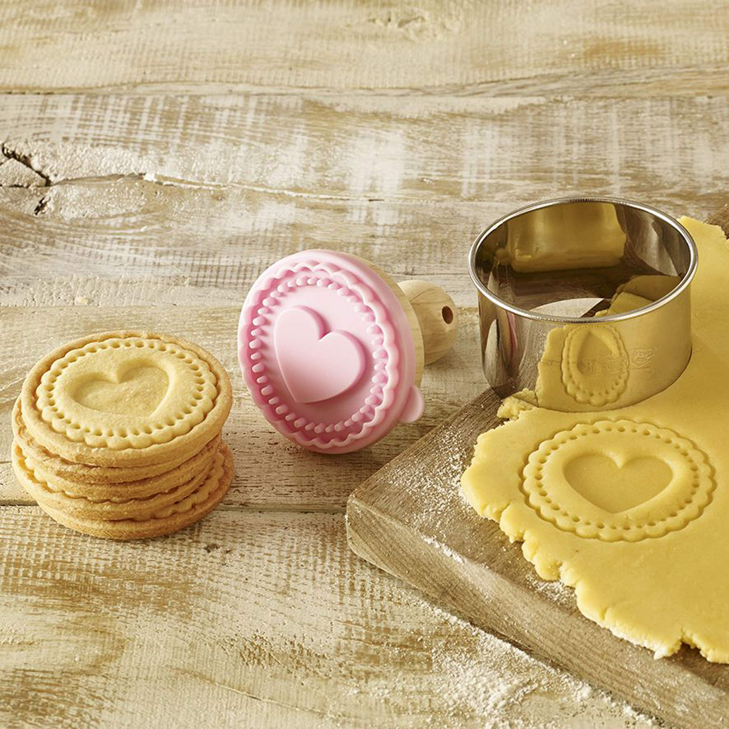 Heart Cookie Stamp - Wooden Handle with Silicone by rbv birkmann (Image #3)