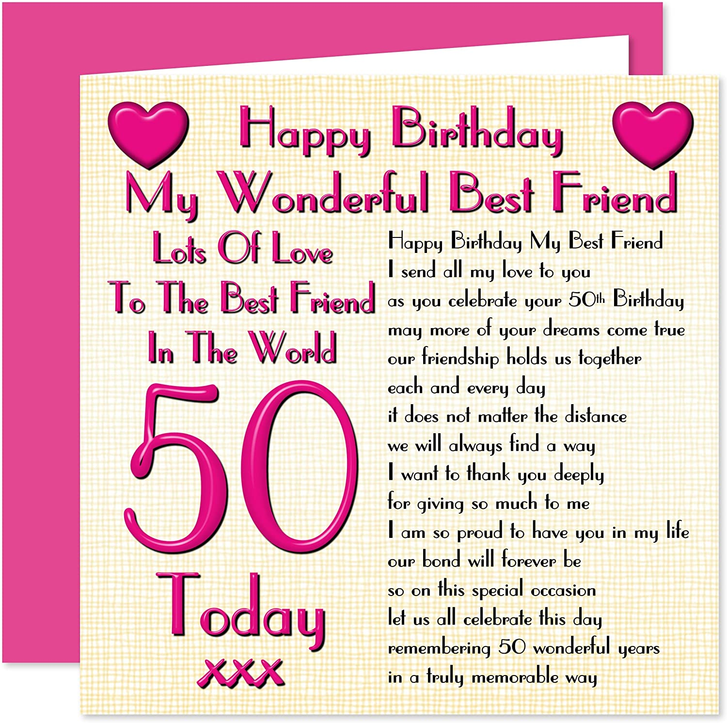 Peachy Best Friend 50Th Happy Birthday Card Lots Of Love To The Best Funny Birthday Cards Online Fluifree Goldxyz