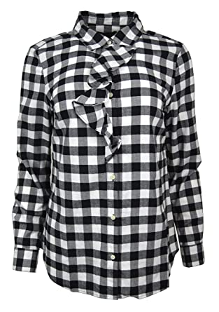 66bca3b0800db1 Banana Republic Women's Heavyweight Flannel Plaid Ruffle-Placket Shirt  Black White Medium at Amazon Women's Clothing store: