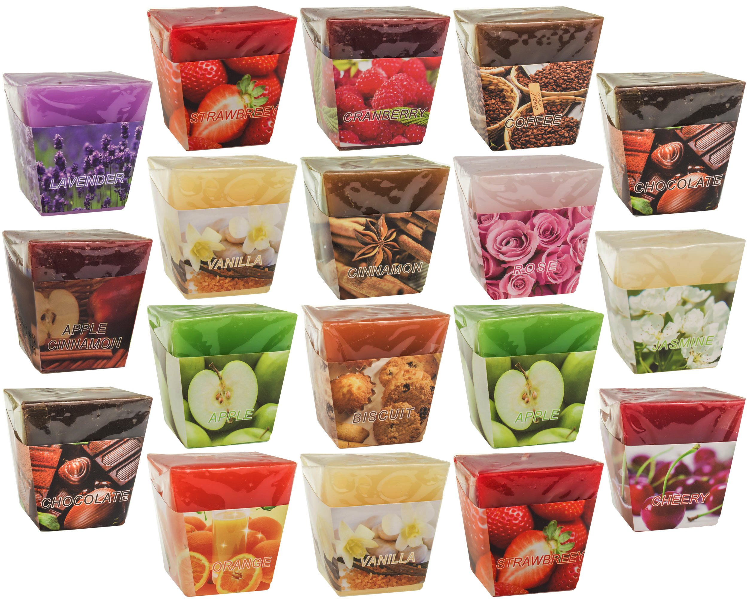All2shop Scented Votive Candles Set of 18 Assorted Pure Scents for Relaxation & Aromatherapy (18 Assorted Scents, Normal) by All2shop