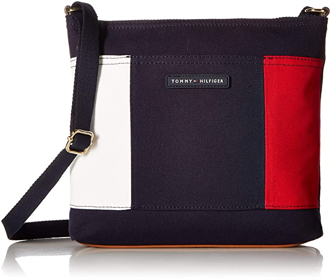 4666afeae8 Tommy Hilfiger Tote for Women TH Flag Canvas, navy: Amazon.ca ...