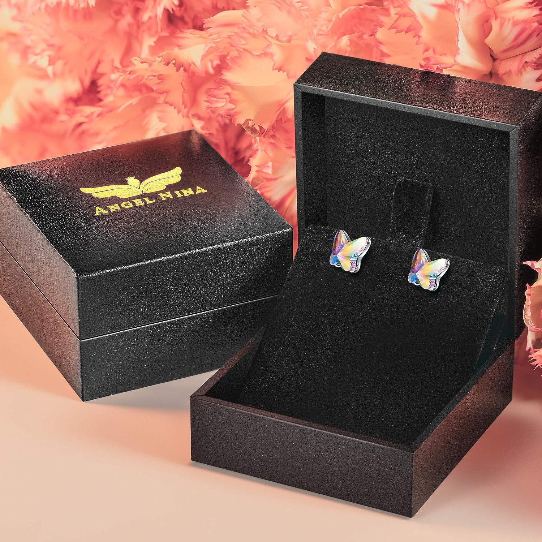 ANGEL NINA Bijoux pour elle coffret cadeau bijoux exquis sans nickel argent sterling 925 boucles doreilles papillon femme test SGS r/éussi cristal de Swarovski