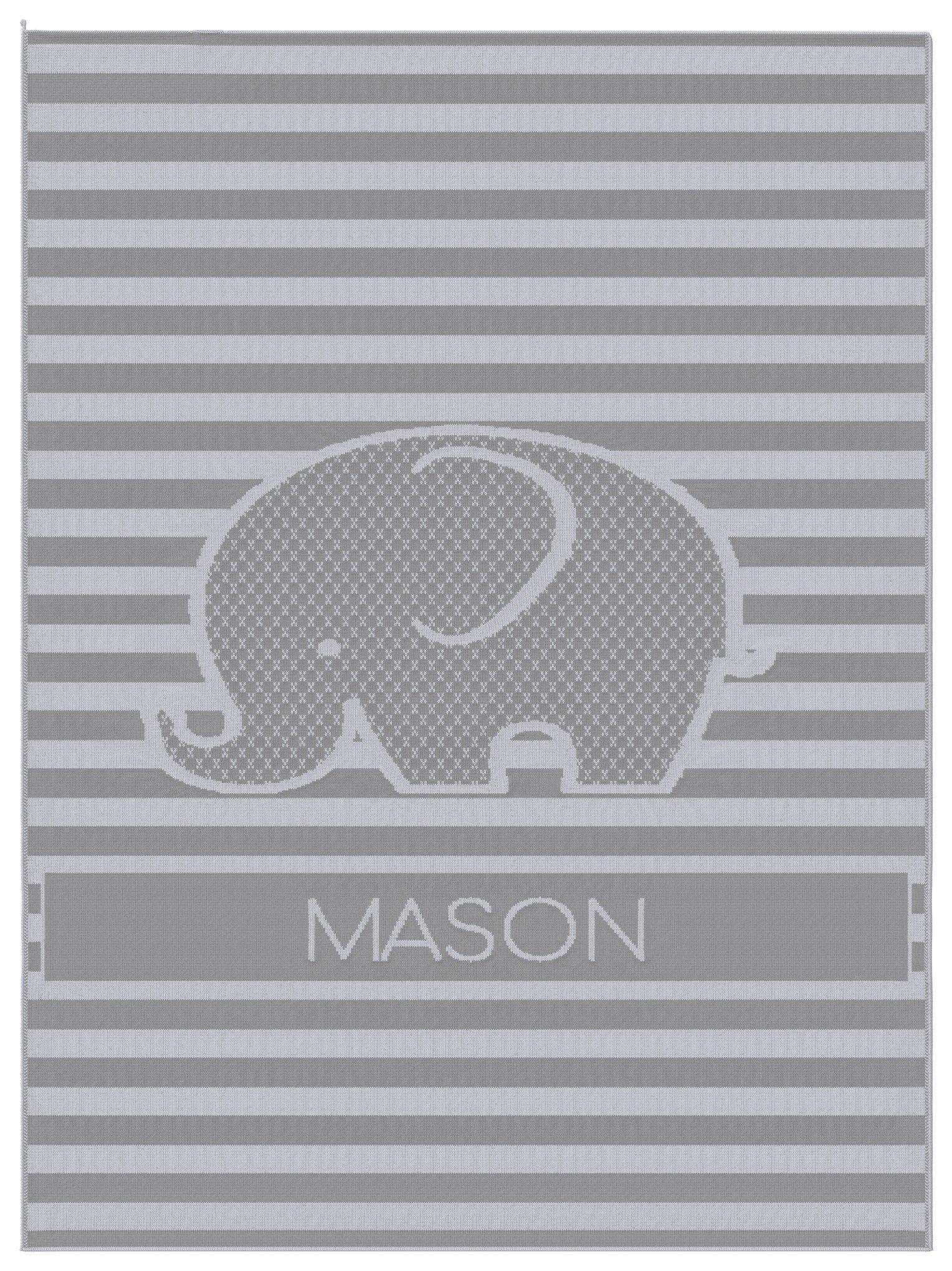 Emji Luxury Knit Baby Blanket with Elephant, Customized Name Stroller Blanket, 100% Cashwool Merino Wool, Grey and White