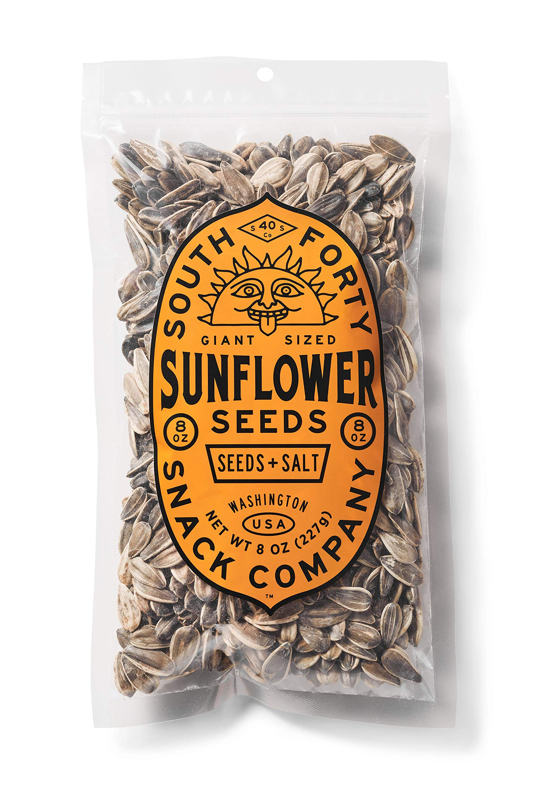 Premium Sunflower Seeds | Jumbo Sized, Batch Roasted, Perfectly Salted, In-Shell - Large 8oz Snack Bag, Packaged for Ultimate Freshness South 40 Snacks by SOUTH 40 SNACKS