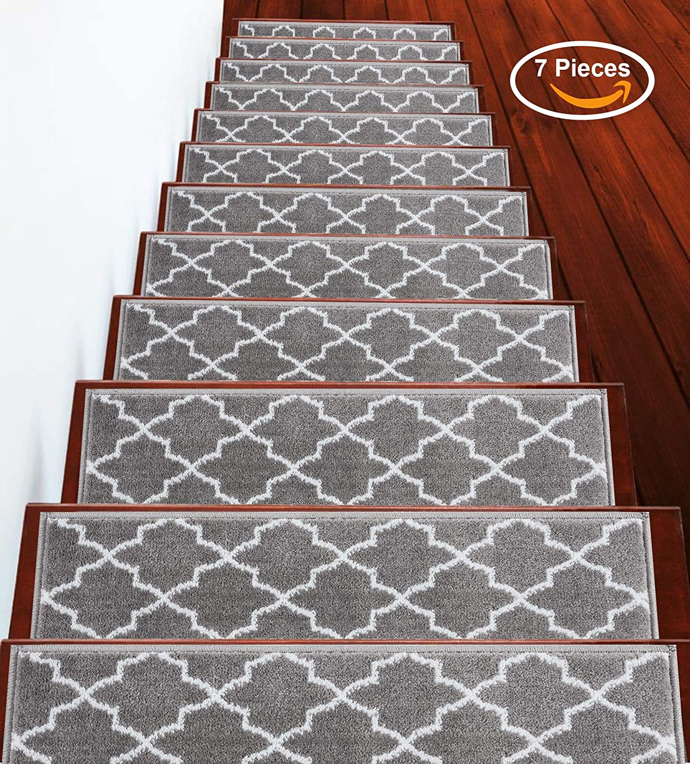 Pack of 13 Cozy Vibrant and Soft Stair Treads Gray /& White 100/% Polypropylene Stair Treads Trellisville Collection Contemporary 9 x 28